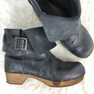 Sanitas Distressed Leather Lexi Clog Boots EU40